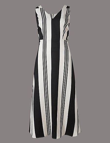 Striped Tie Detail Shift Midi Dress