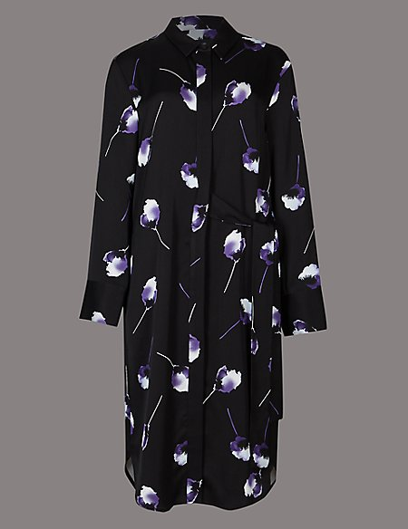 Floral Print Tie Detail Shirt Midi Dress