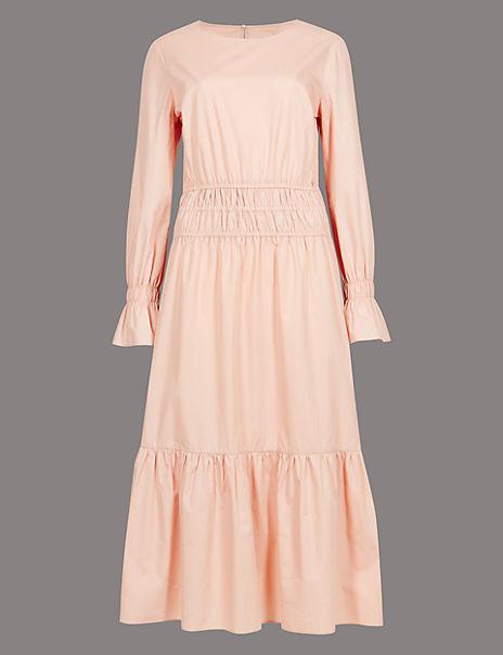 Pure Cotton Ruched Waist Midi Dress