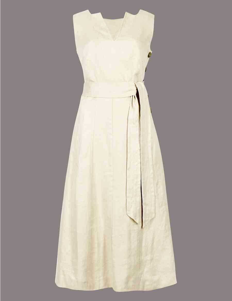 0ef71833c1 Pure Linen Side Button Midi Dress