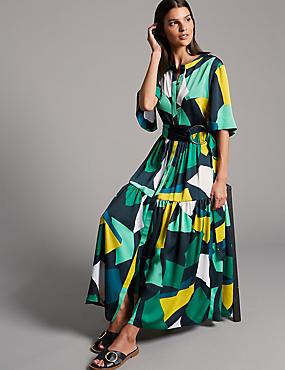 Geometric Print Half Sleeve Maxi Dress