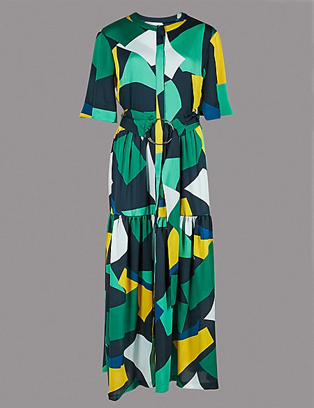 Geometric Print Half Sleeve Maxi Dress   Autograph   M&S
