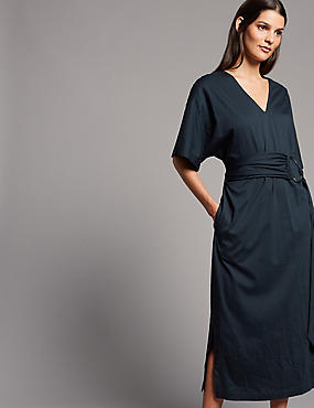 Pure Cotton Jersey Midi Dress