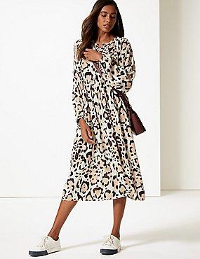 993a961b1e94 Animal Print Long Sleeve Tea Midi Dress