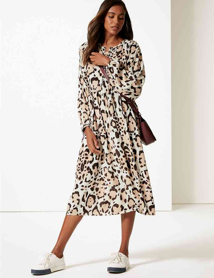 Animal Print Long Sleeve Tea Midi Dress  3e5fdd8e4