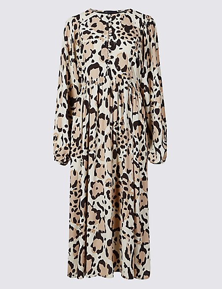 Animal Print Long Sleeve Tea Midi Dress