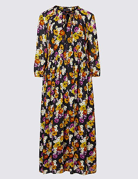Floral Print 3/4 Sleeve Midi Dress