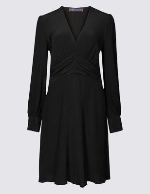 Ruched Drape V Neck Long Sleeve Tea Dress by Marks & Spencer