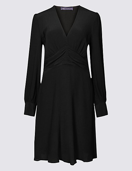 Ruched Drape V-Neck Long Sleeve Tea Dress