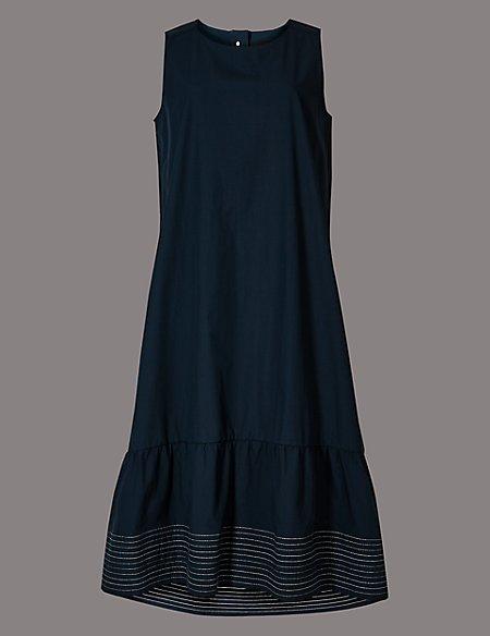 Pure Cotton Stitch Detail Peplum Midi Dress