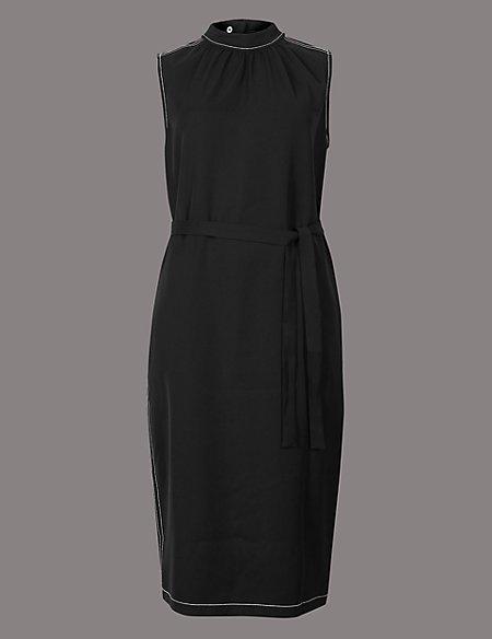 Funnel Neck Tunic Midi Dress