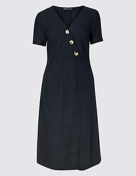 Linen Rich Short Sleeve Shift Midi Dress