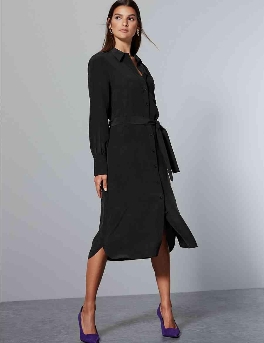 bf95c8763f7d17 Pure Silk Tie Waist Shirt Dress
