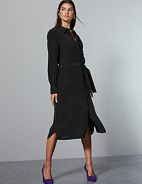 Pure Silk Long Sleeve Shirt Dress With Belt