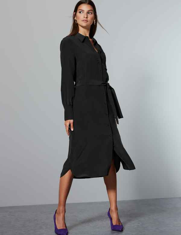 Pure Silk Long Sleeve Shirt Dress with Belt 38f66ead8e