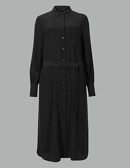 Pure Silk Long Sleeve Shirt Dress With Belt
