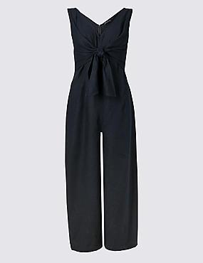 Linen Rich Tie Front Jumpsuit