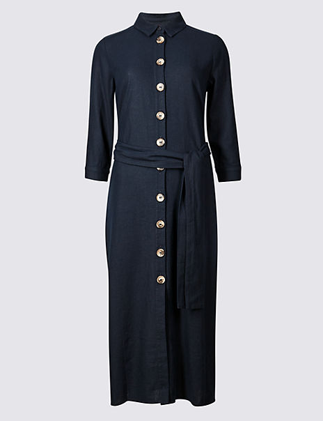 Linen Rich 3/4 Sleeve Shift Midi Dress