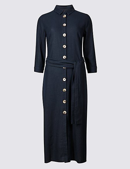 Linen Rich 3/4 Sleeve Shift Midi Dress