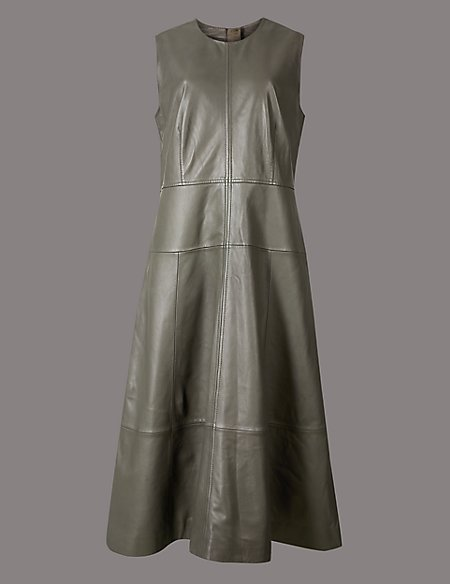 Leather Sleeveless Skater Dress