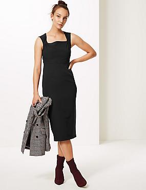Square Neck Bodycon Midi Dress