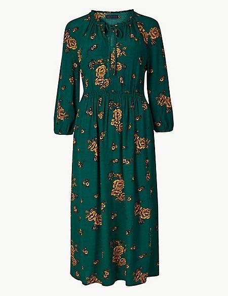 Floral Print Tea Midi Dress