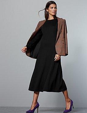 9b01b3b480b6 Jersey Long Sleeve Skater Midi Dress