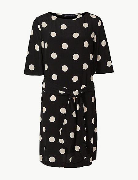 Spotted Half Sleeve Shift Dress