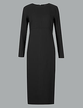 Stitch Detail Long Sleeve Midi Dress