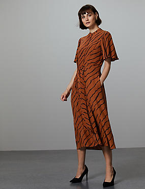 Printed Midi Shirt Dress, BROWN MIX, catlanding