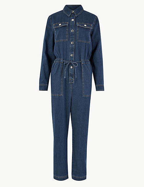 Denim Button Detailed Jumpsuit
