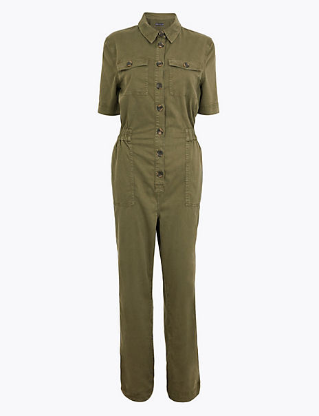 Button Front Utility Jumpsuit
