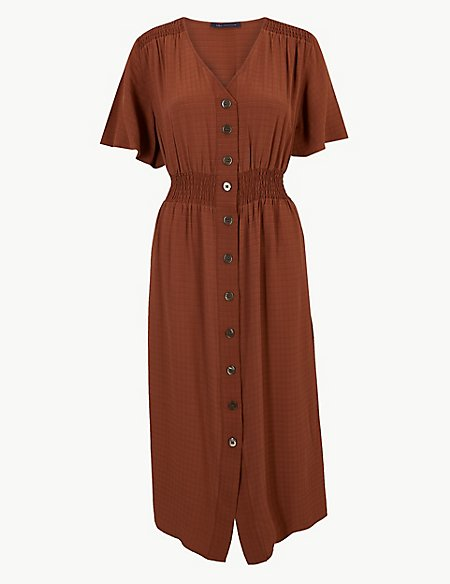 Checked Button Front Waisted Midi Dress
