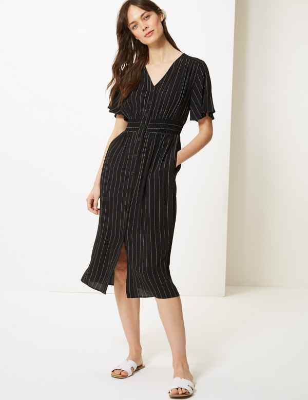 94c6f32eaf402 Striped Shirred Waist Midi Dress