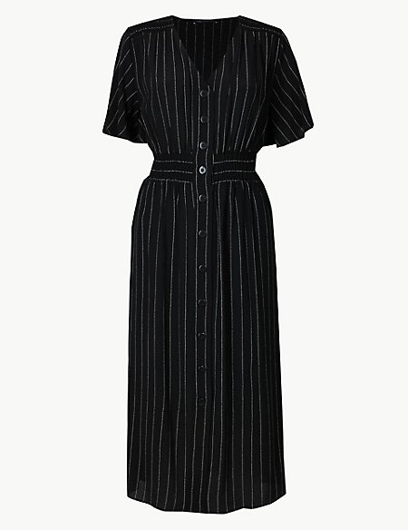 Striped Shirred Waist Midi Dress