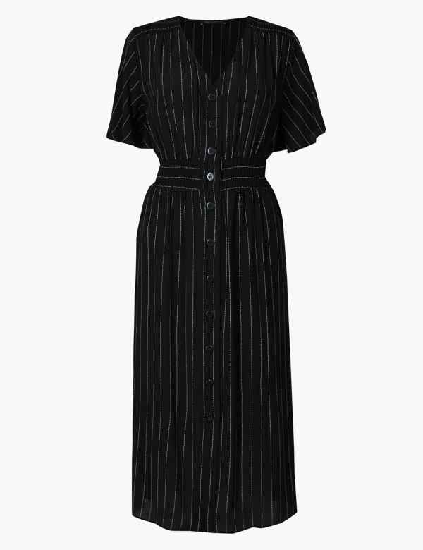 c76b418fb51a Striped Shirred Waist Midi Dress. M S Collection