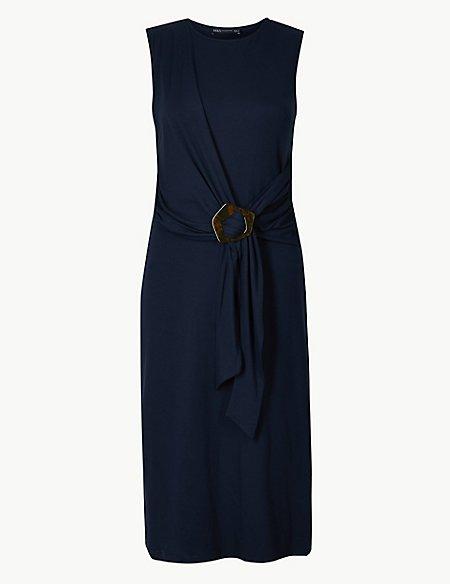 Buckle Detail Bodycon Midi Dress