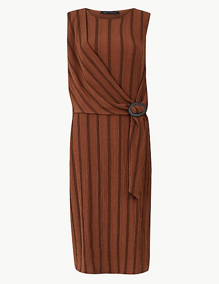 Striped Buckle Bodycon Midi Dress