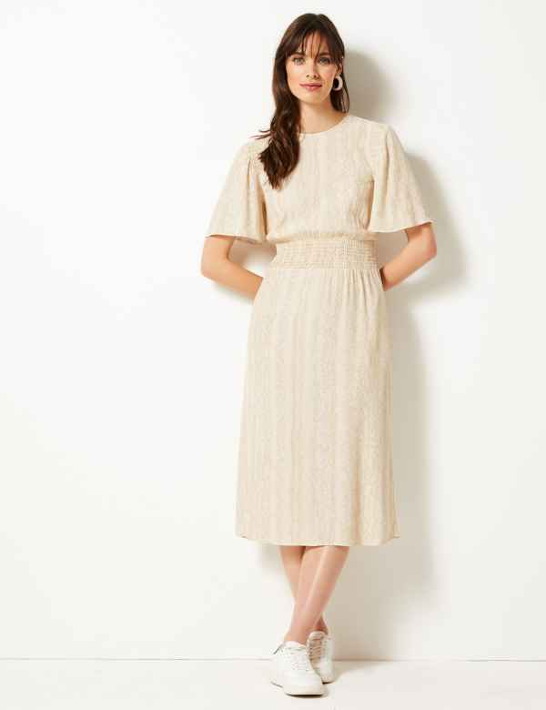 Shirred Shoulder Midi Dress 5c113da36