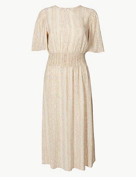 Shirred Shoulder Midi Waisted Dress