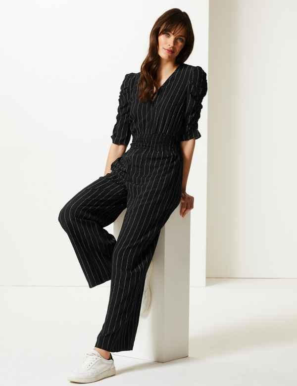 61220a5540b7 Striped Short Sleeve Jumpsuit