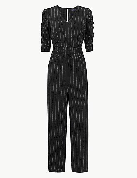 Striped Short Sleeve Jumpsuit
