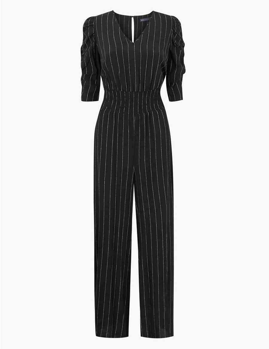 56d933f9ae4f Striped Short Sleeve Jumpsuit