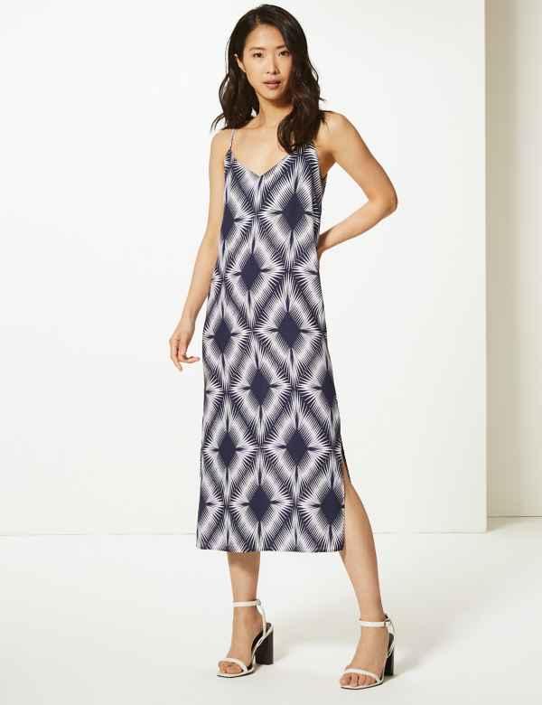 5c0e75af267 Diamond Print Slip Midi Dress