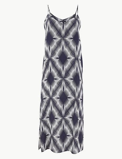 Diamond Print Slip Midi Dress