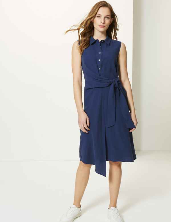 f4469eecf809 Side Tie Sleeveless Shirt Midi Dress