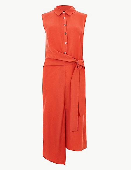 Side Tie Sleeveless Midi Shirt Dress