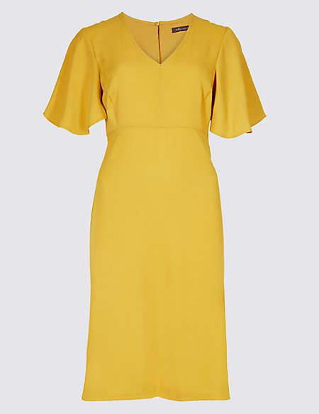 Flutter Sleeve Woven Swing Dress