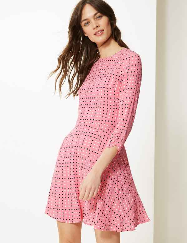 2724039c230 Polka Dot 3 4 Sleeve Fit   Flare Mini Dress. Online Only. M S Collection