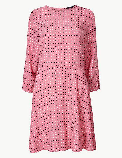 Polka Dot 3/4 Sleeve Fit & Flare Mini Dress